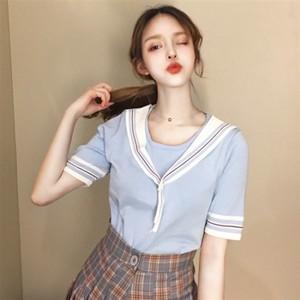 セーラー服風半袖配色Tシャツ